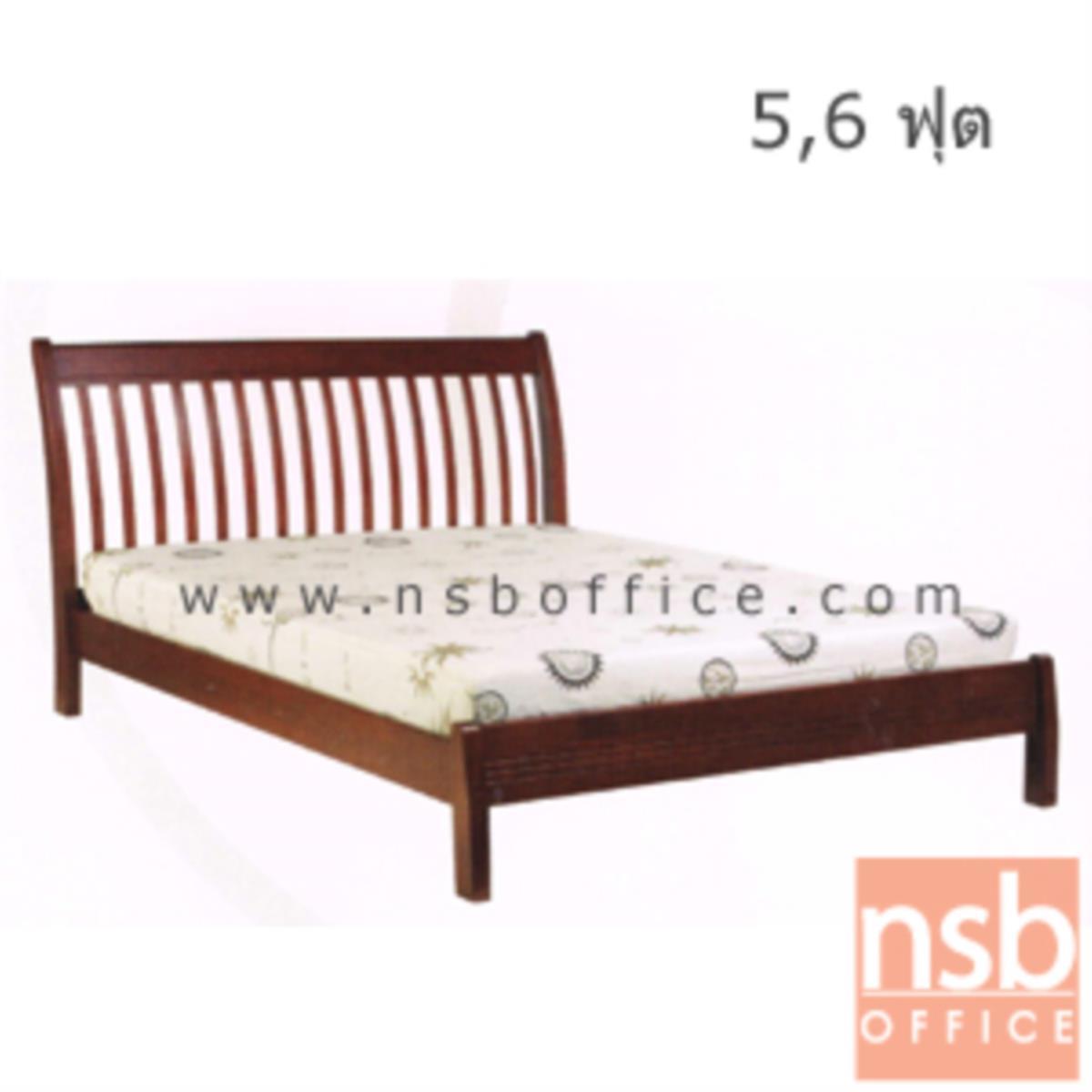 G11A091:เตียงไม้ยางพาราล้วน รุ่น MERRY-FU 5 และ 6 ฟุต หัวเตียงไม้ระแนง