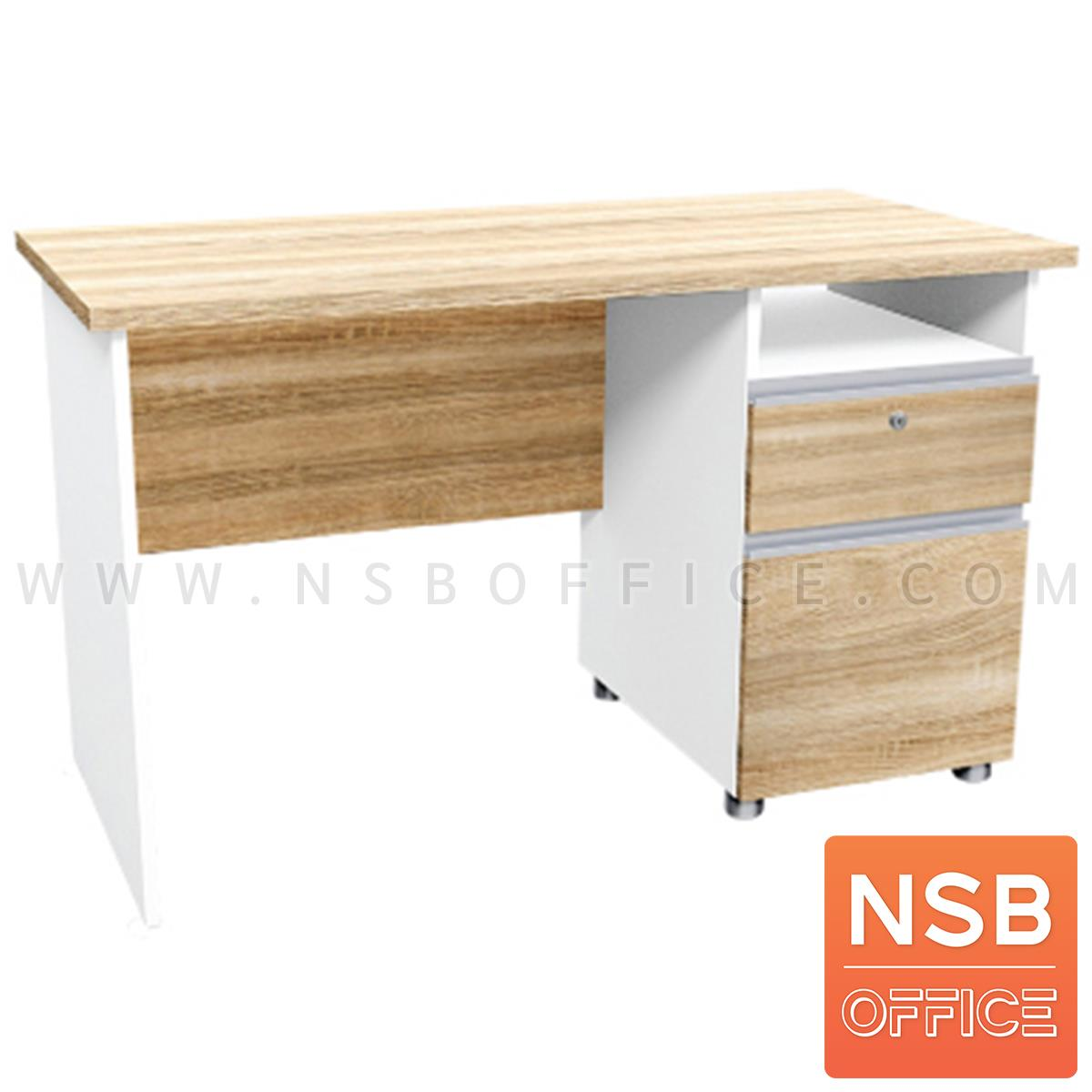 A21A002:โต๊ะทำงาน 2 ลิ้นชัก รุ่น Banderas (แบนเดอราส) ขนาด 120W ,150W ,160W cm.  เมลามีน สีเนเจอร์ทีค-ขาว