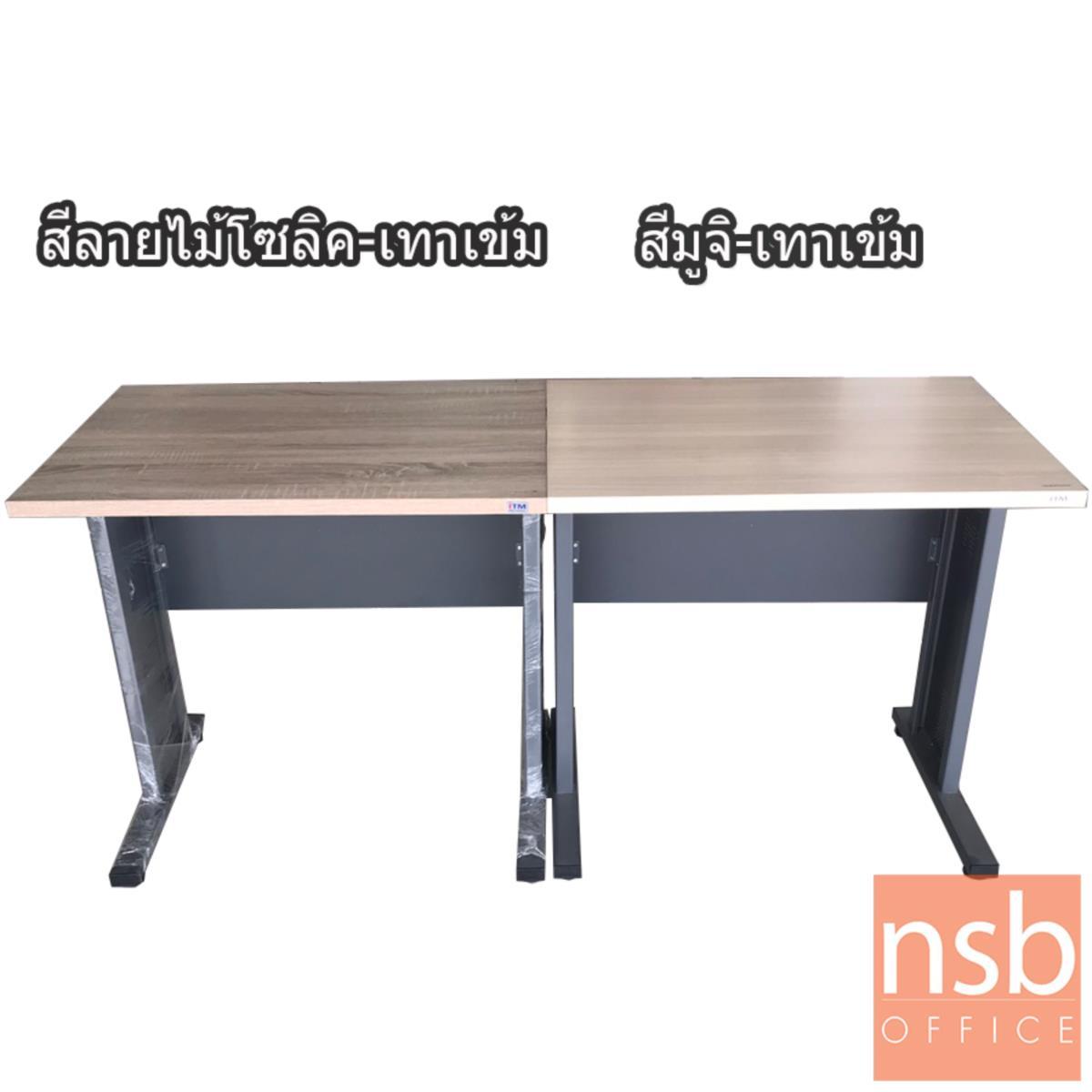 โต๊ะทำงาน  รุ่น Felicia (เฟลิเซีย) ขนาด 120W cm. ขาเหล็ก  สีโซลิคตัดเทาเข้มหรือสีมูจิตัดเทาเข้ม
