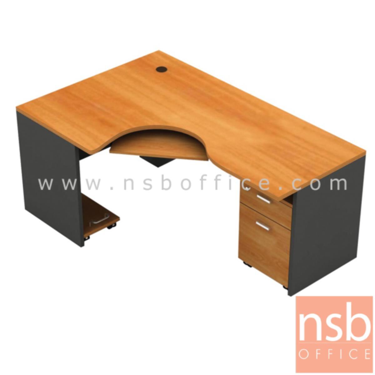 A13A002:โต๊ะผู้บริหารตัวแอลหน้าโค้งเว้า  รุ่น Lukaz 1 ขนาด 185W1*120W2 cm. พร้อมคีย์บอร์ด ที่วางซีพียูและตู้ลิ้นชัก