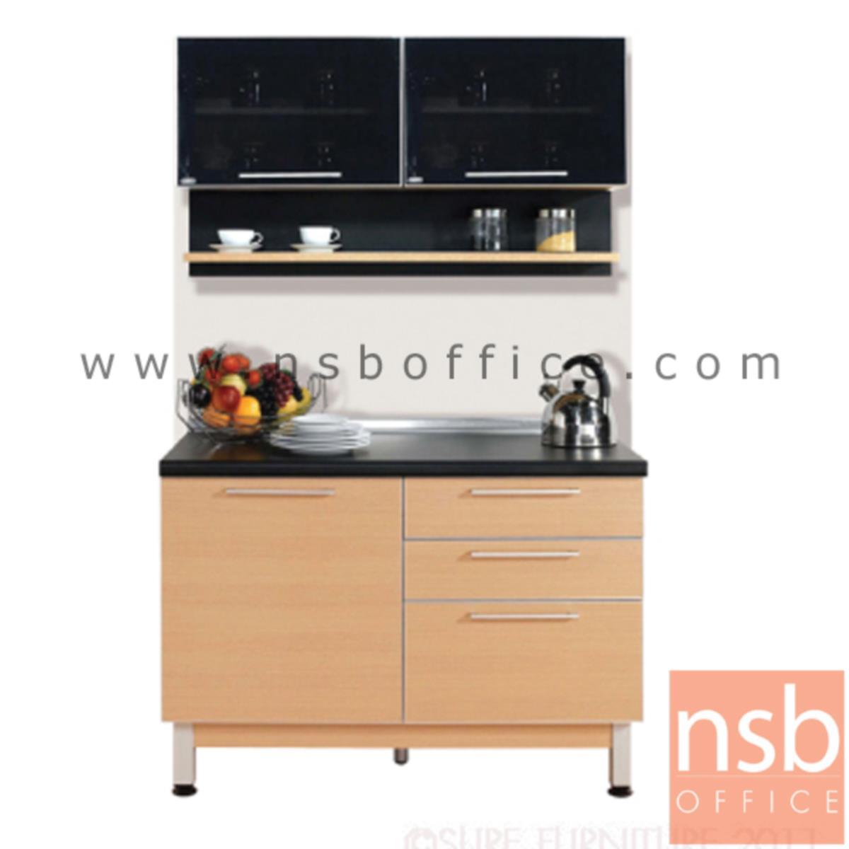 K02A009: ชุดตู้ครัวสีบีทดำ 120W cm. รุ่น Step 91  (สำหรับครัวเปียกและครัวแห้ง)