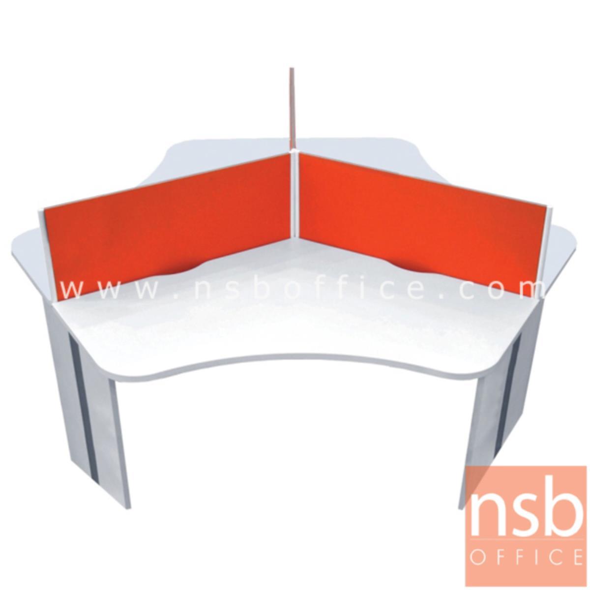 A27A016:ชุดโต๊ะทำงานกลุ่ม 3 ที่นั่ง  รุ่น CALL-SET1 ขนาด 198W cm. พร้อมด้วยมินิสกรีนบุผ้า