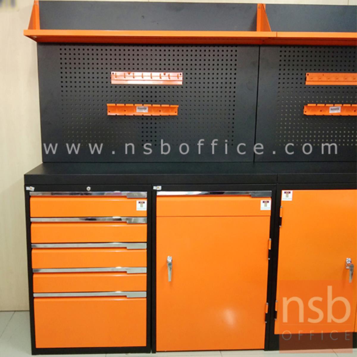 ชุดตู้เก็บเครื่องมือช่าง 1 บานเปิด 5 ลิ้นชัก 123.5W cm. พร้อมแผ่นท็อปแผ่นชั้นและอุปกรณ์เสริม