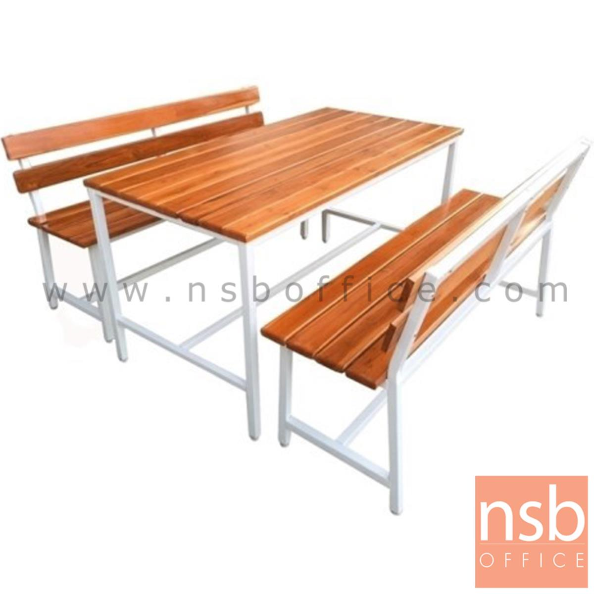A17A084:โต๊ะโรงอาหารไม้สักตีระแนงชิด รุ่น TENNESSEE (เทนเนสซี) ขนาด 150W cm. ขาเหล็ก