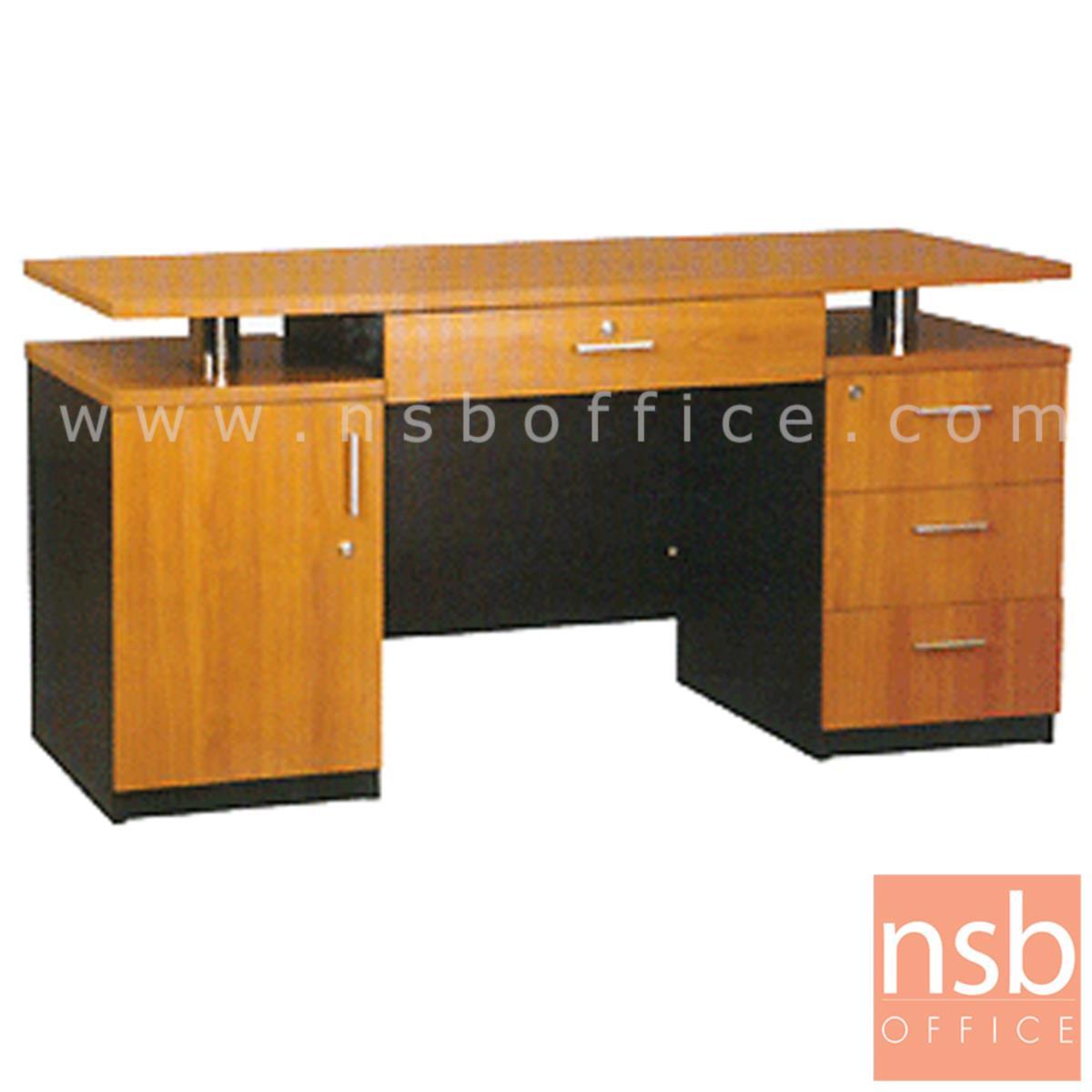 A12A043:โต๊ะทำงาน 4 ลิ้นชัก 1 บานเปิด รุ่น Hamilton (ฮามิลตัน) ขนาด 150W ,180W cm. เมลามีน
