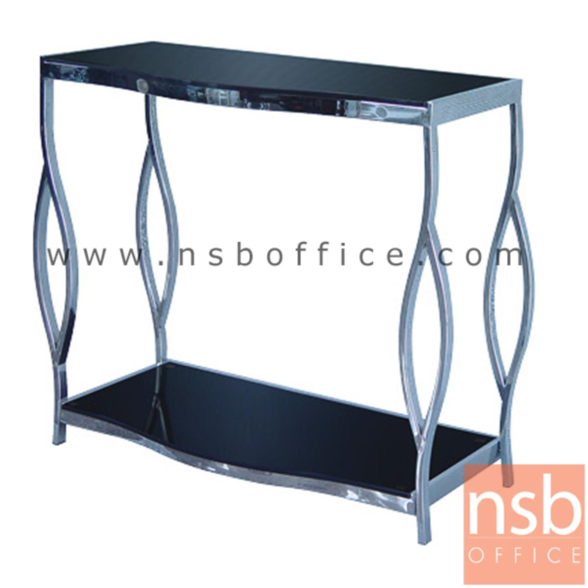 A09A112:โต๊ะหน้ากระจกสีดำ รุ่น Shirley (เชอร์ลีย์) ขนาด 80W ,120W cm.  โครงเหล็กชุบโครเมี่ยม