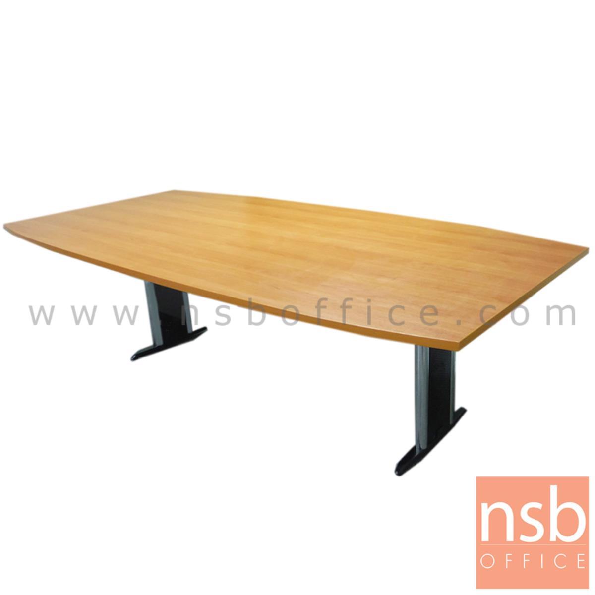 โต๊ะประชุมทรงเรือ  8 ,10 ที่นั่ง ขนาด 200W ,240W cm. ขาเหล็กตัวที