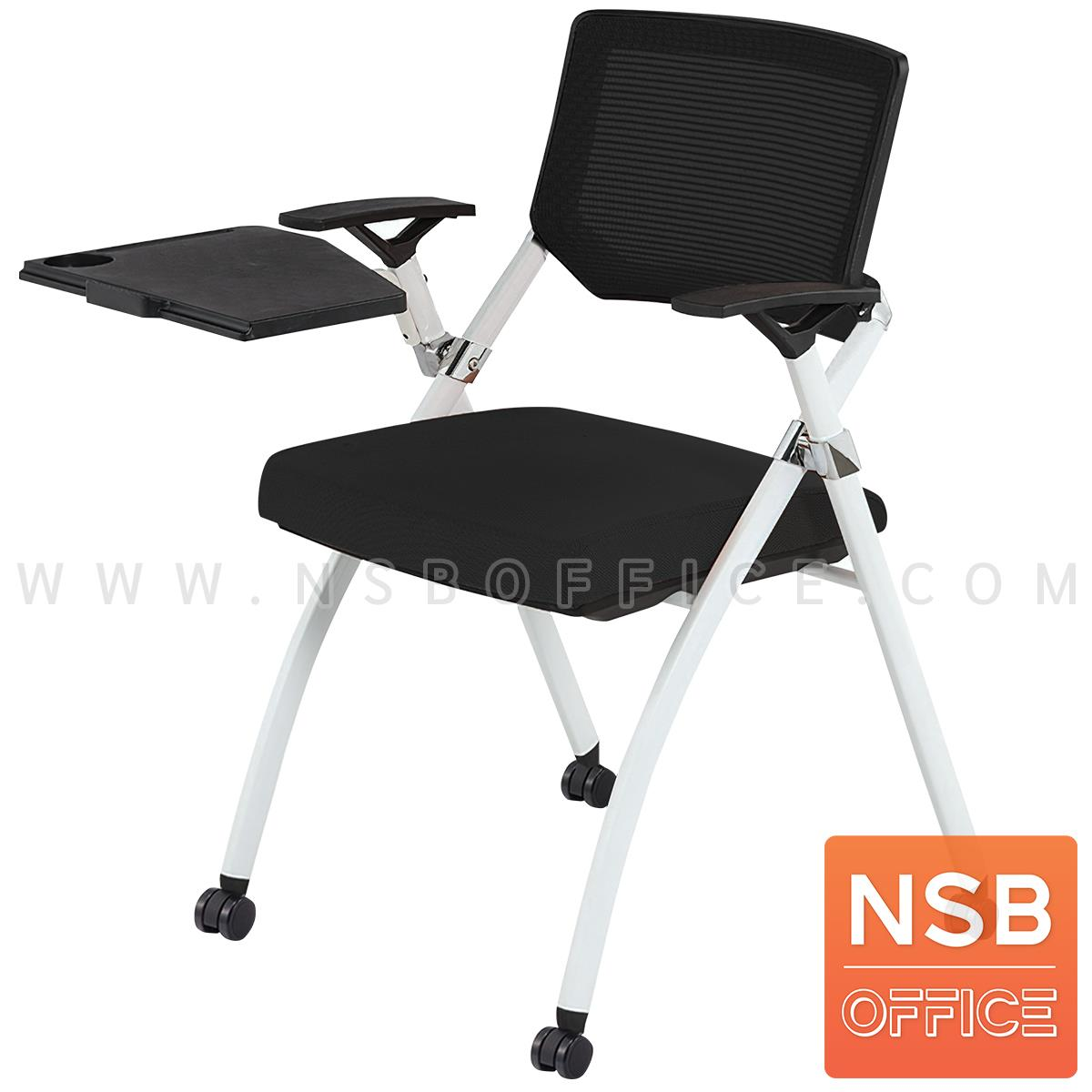 B07A092:เก้าอี้เลคเชอร์หลังเน็ตล้อเลื่อน รุ่น Halle (แฮลลี)  ขาเหล็กพ่นสีขาว
