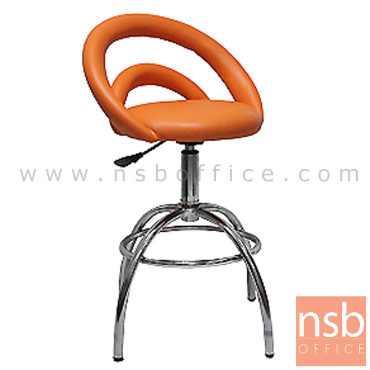 B09A108:เก้าอี้บาร์ที่นั่งกลม รุ่น Olympia (โอลิมเปีย)  โช๊คแก๊ส ขาเหล็กชุบโครเมี่ยม