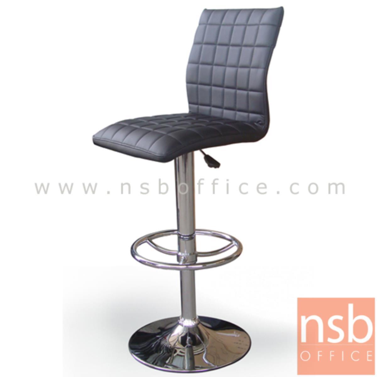 B18A015:เก้าอี้บาร์สูงหนังเทียม รุ่น Elrond (เอลรอนด์) ขนาด 41W cm. โช๊คแก๊ส ขาโครเมี่ยมฐานจานกลม