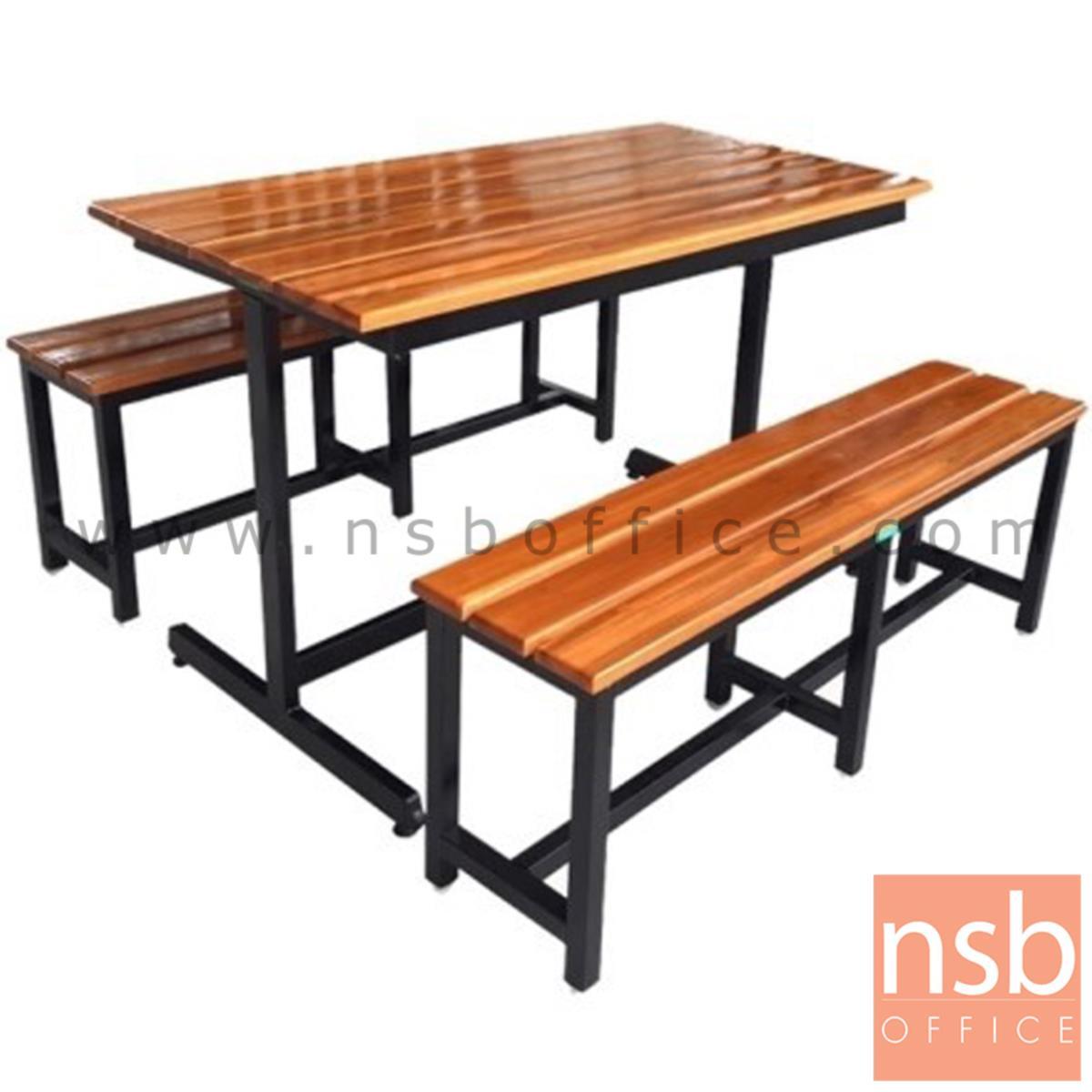 A17A082:โต๊ะโรงอาหารไม้สักตีระแนง รุ่น SOUTHCAROLINA (เซาธ์แคโรไลนา) ขนาด 120W cm. ขาเหล็กตัวไอ