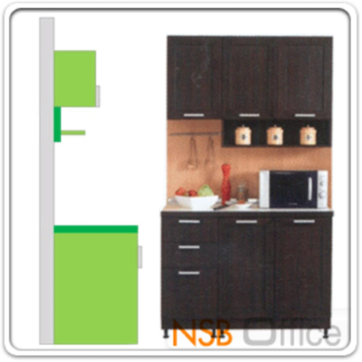 ชุดตู้ครัวหน้าเรียบ 120W cm. รุ่น STEP-002 พร้อมตู้แขวนลอย