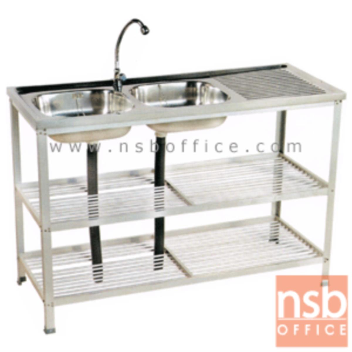 G12A038:อ่างล้างจาน 2 หลุม รุ่น SN-WBC955-3 สเตนเลส มีที่คว่ำจาน พร้อมก๊อกน้ำ