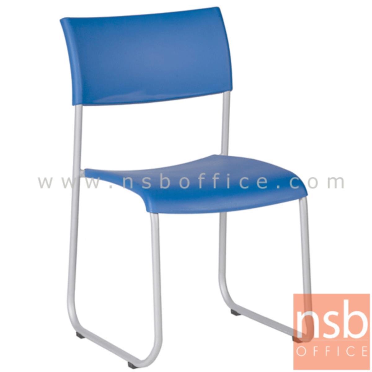 B05A058:เก้าอี้อเนกประสงค์เฟรมโพลี่ รุ่น B718  ขาเหล็กตัวยูพ่นสีเทา