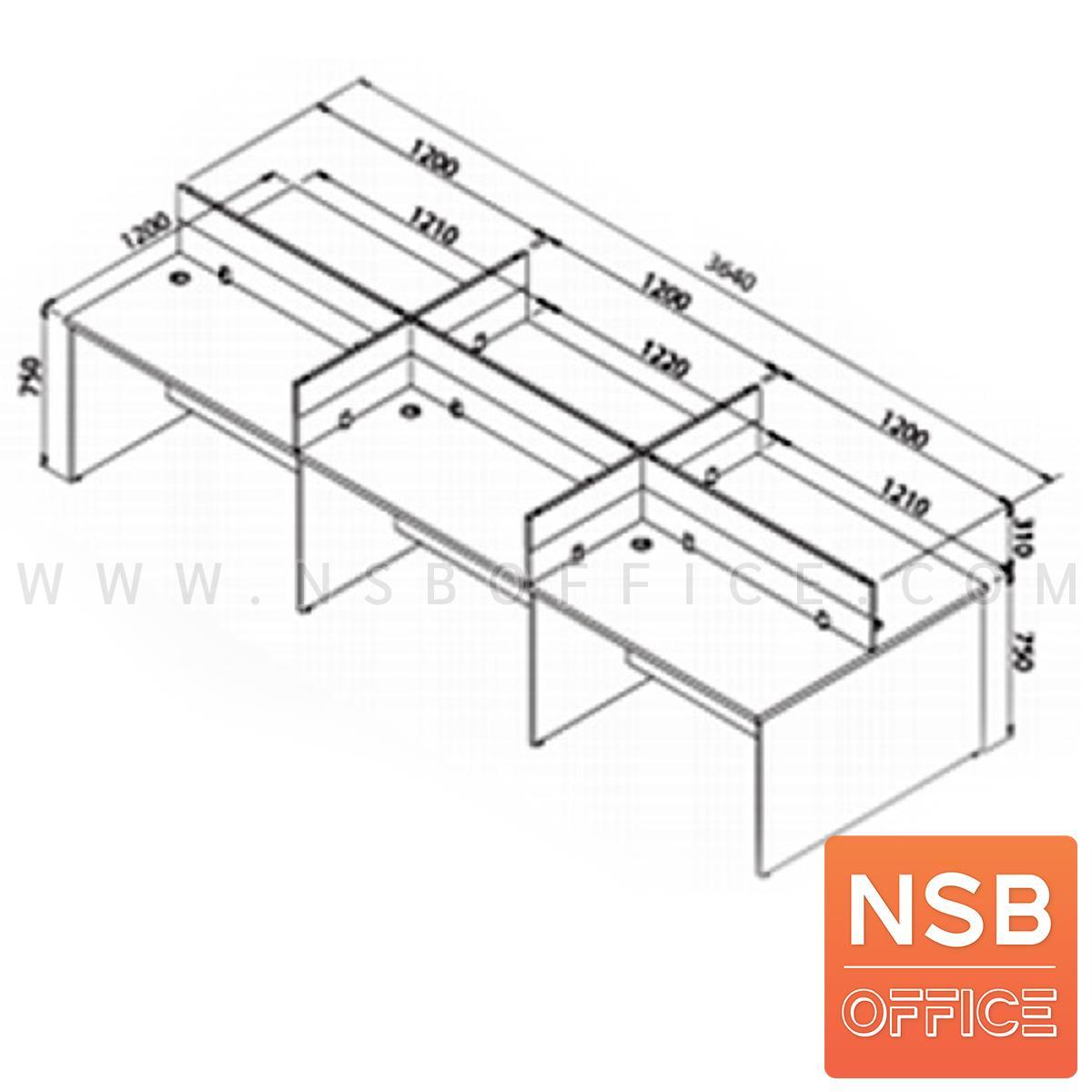 โต๊ะทำงานกลุ่ม 6 ที่ันั่ง รุ่น Multi (มัลติ) ขนาด 364W*120D cm. พร้อมมินิสกรีน