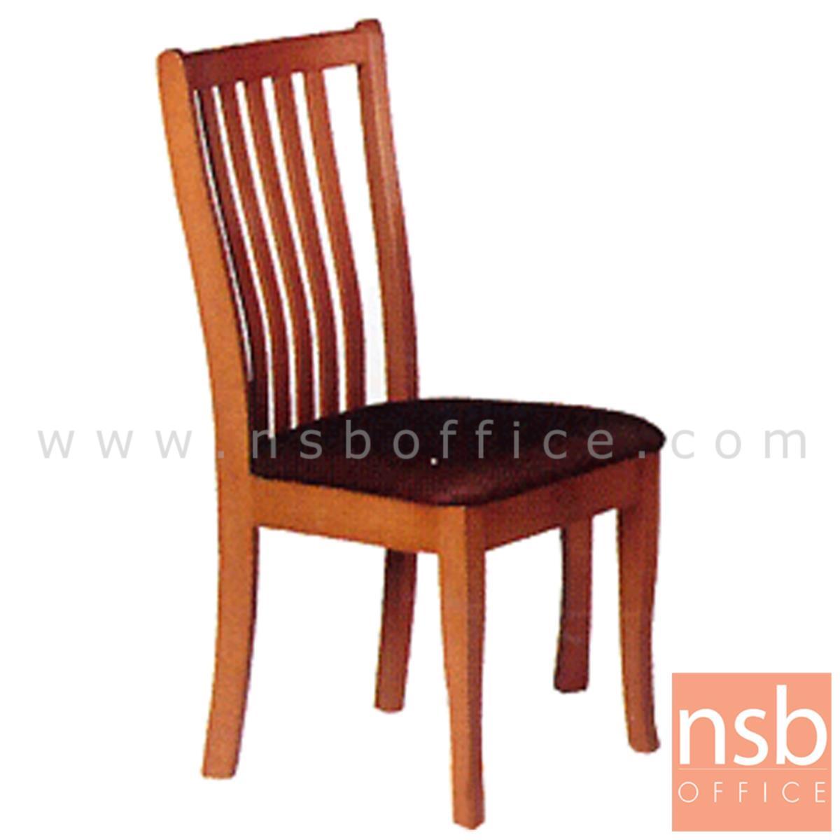 เก้าอี้ไม้ยางพาราที่นั่งหุ้มหนังเทียม รุ่น Lofting (ลอฟติง) ขาไม้
