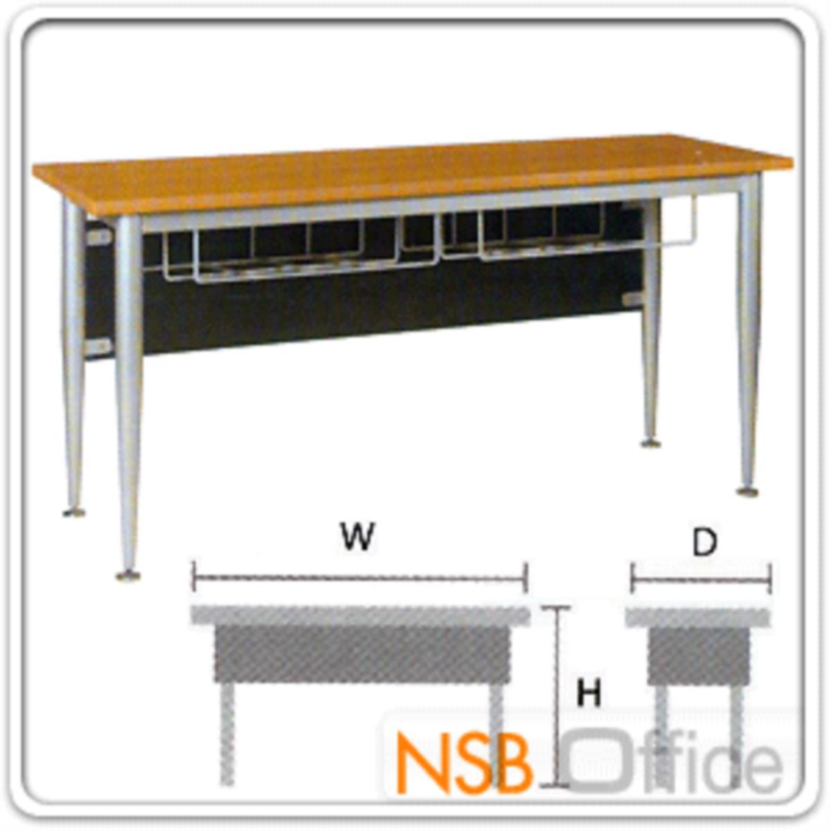 โต๊ะทำงาน มีตะแกรงใต้โต๊ะ รุ่น Nomos (โนมอส) ขนาด 120W ,150W ,180W cm.  ขาเหล็กพ่นบอร์นเงิน