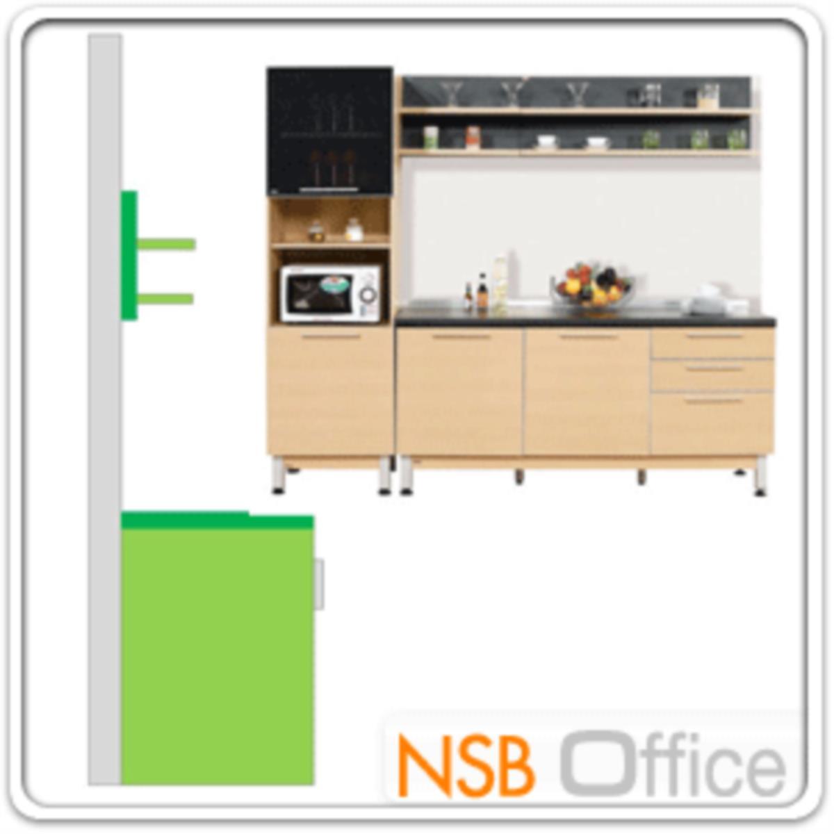 ชุดตู้ครัวสีบีทดำ 240W cm.  รุ่น STEP-122 (สำหรับครัวเปียกและครัวแห้ง)