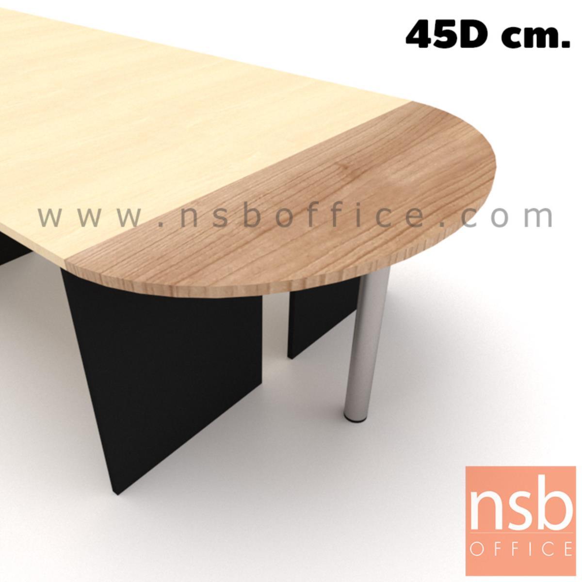 A04A060:โต๊ะเข้ามุมหัวโค้งแต่ไม่ครึ่งวงกลม รุ่น NSB-2045 ขนาด 120W ,150W ,160W*45D cm.  ขากลมโครเมี่ยม