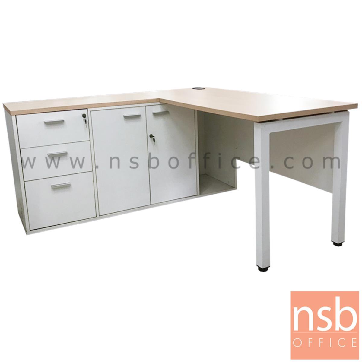 โต๊ะทำงานตัวแอล   ขนาด 150W1*150W2 cm. พร้อมตู้เก็บเอกสาร ขาเหล็ก