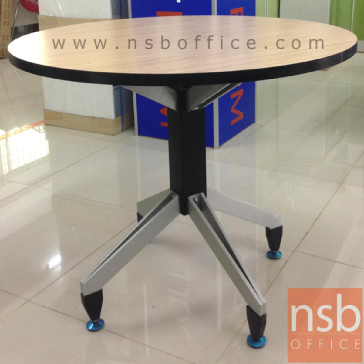 โต๊ะประชุมกลม 25 mm. รุ่น Beverley (เบอเวอรี่) ขนาด 100Di cm. โครงขาเหล็ก 3 แฉก