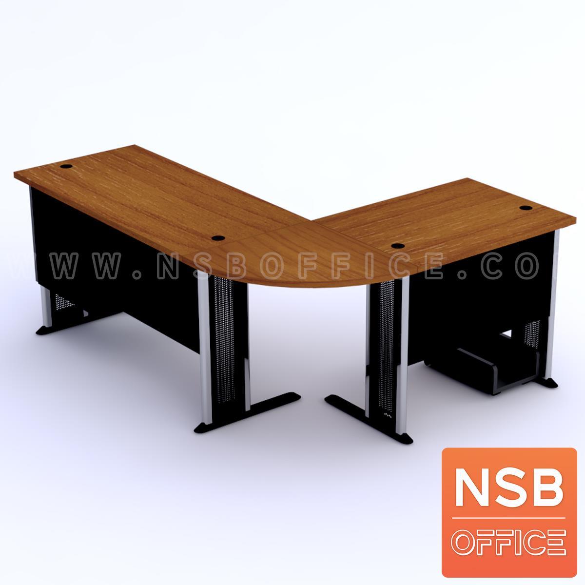 โต๊ะผู้บริหารตัวแอลหัวโค้ง  รุ่น Orbit (ออบิต) ขนาด 180W1*140W2 cm. ขาเหล็กโครเมี่ยมดำ สีเชอร์รี่ดำ