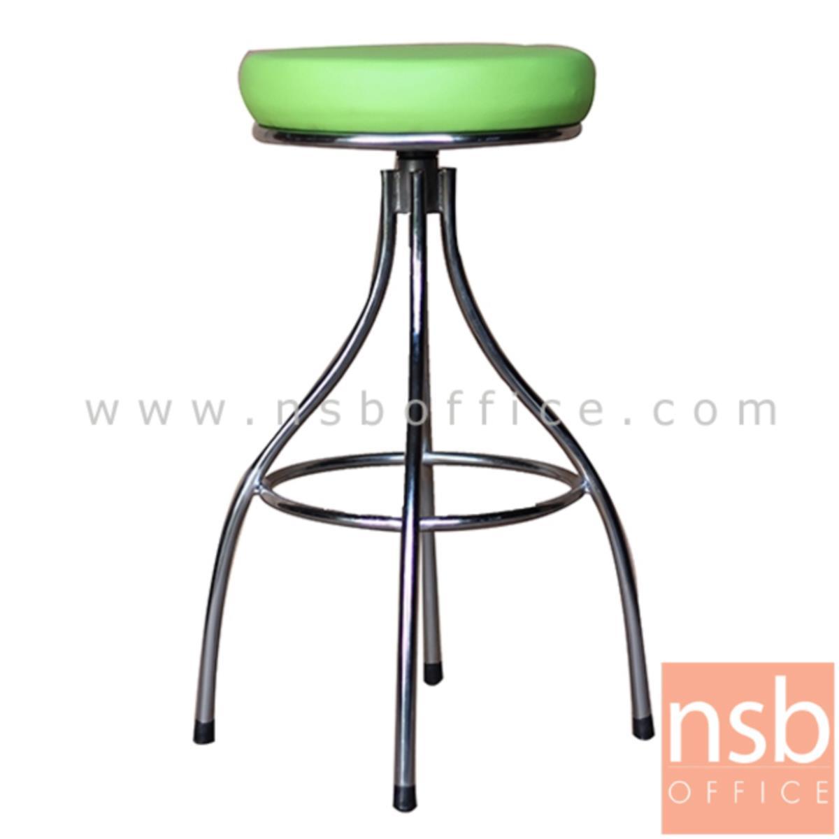 B09A072:เก้าอี้บาร์สตูลที่นั่งกลม รุ่น Silver (ซิลเวอร์)  ขาทรงถ้วยชุบโครเมี่ยม