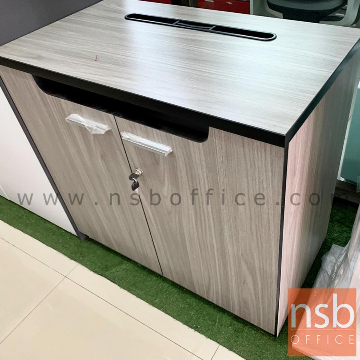 ตู้วางปริ้นเตอร์ บานเปิดเจาะช่องสอดกระดาษ Print station - F  สูงเสมอโต๊ะ