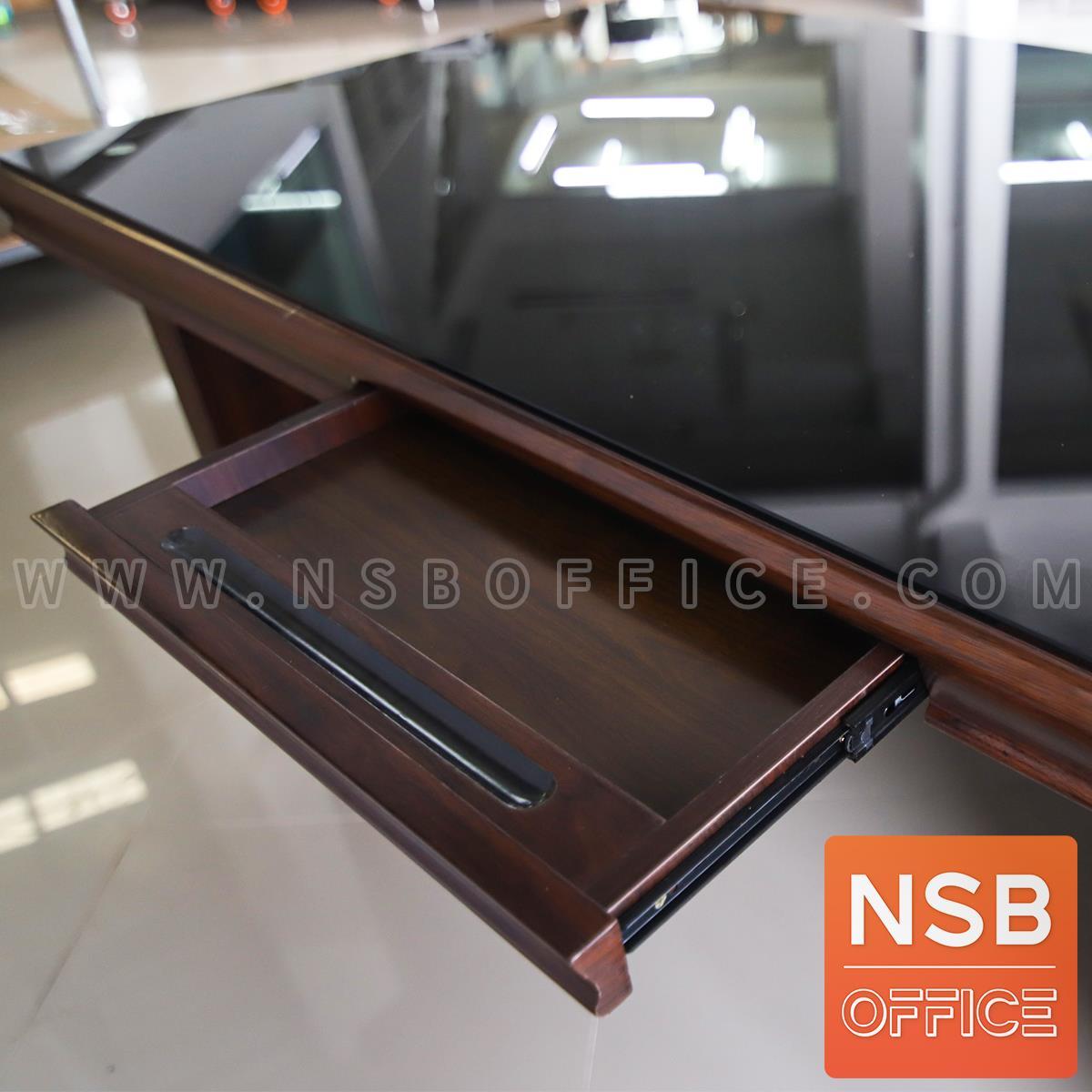 โต๊ะทำงานผู้บริหาร รุ่น Phoenix (ฟีนิกซ์) ขนาด 180W cm. หน้าท็อปทับด้วยกระจก