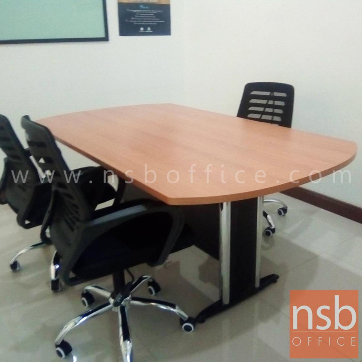 โต๊ะประชุมทรงเหลี่ยมหัวโค้ง  180W, 200W, 240W cm. ระบบคานไม้ ขาเหล็กตัวที