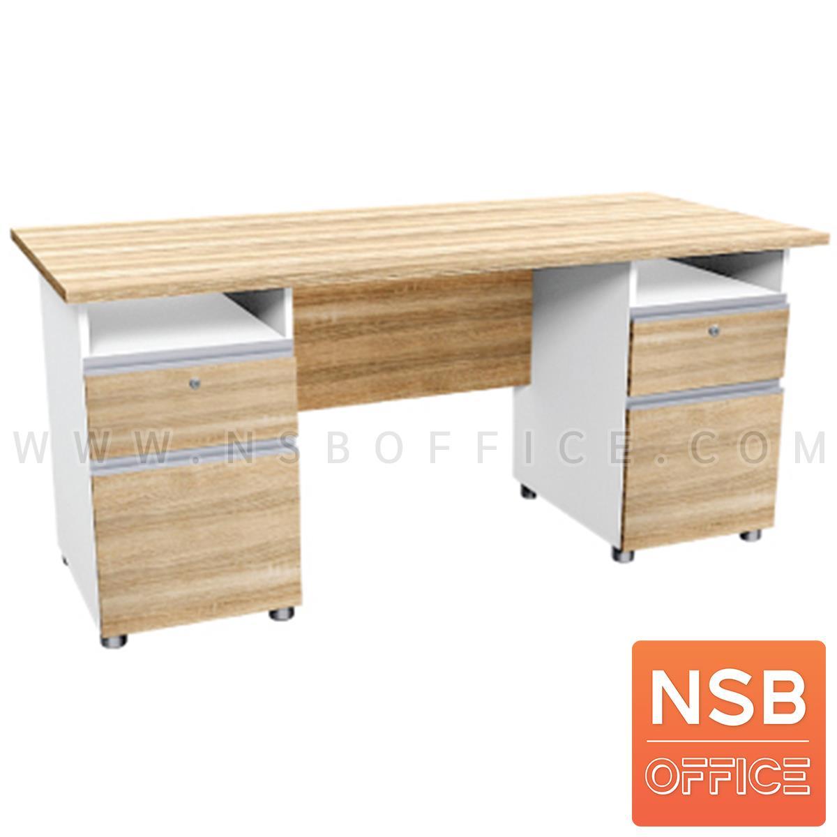 A21A003:โต๊ะทำงาน 4 ลิ้นชัก  รุ่น Rebelle (เรอเบลล์) ขนาด 180W cm. เมลามีน สีเนเจอร์ทีค-ขาว
