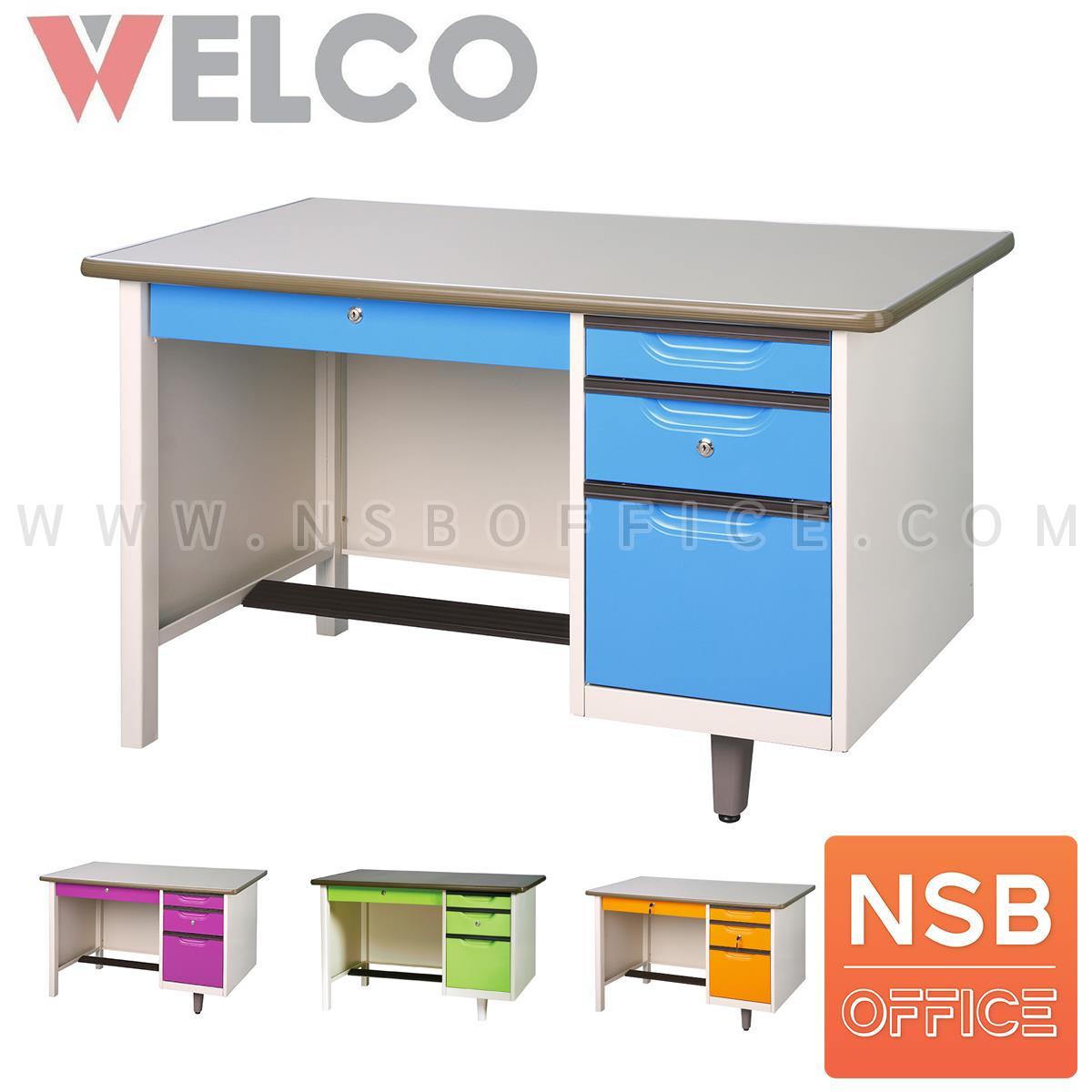 E30A015:โต๊ะทำงานหน้าเหล็ก 4 ลิ้นชัก รุ่น WDE ขนาด 3 ,3.5 ,4 ฟุต