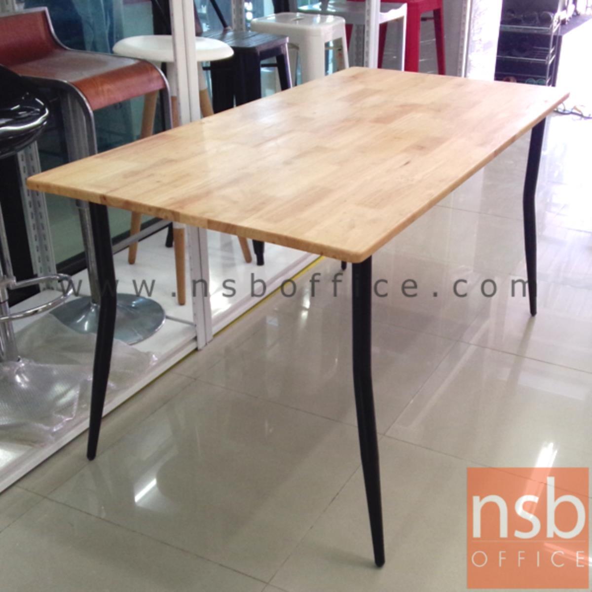 โต๊ะรับประทานอาหารหน้าไม้ยางพารา รุ่น SR-3 ขนาด 90W ,120W ,150W cm.  โครงขาเหล็ก