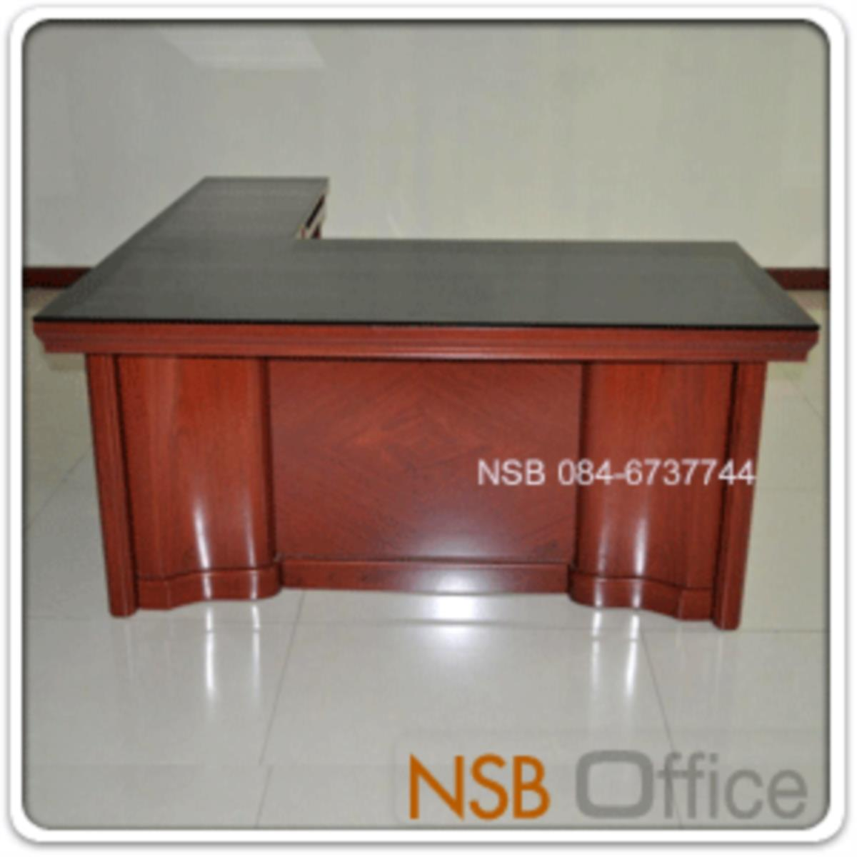 A06A083:โต๊ะบริหารตัวแอล มีกระจกหน้าโต๊ะ รุ่น Farnsworth (ฟาร์นสเวิร์ธ)  พร้อมตู้ข้าง และลิ้นชัก