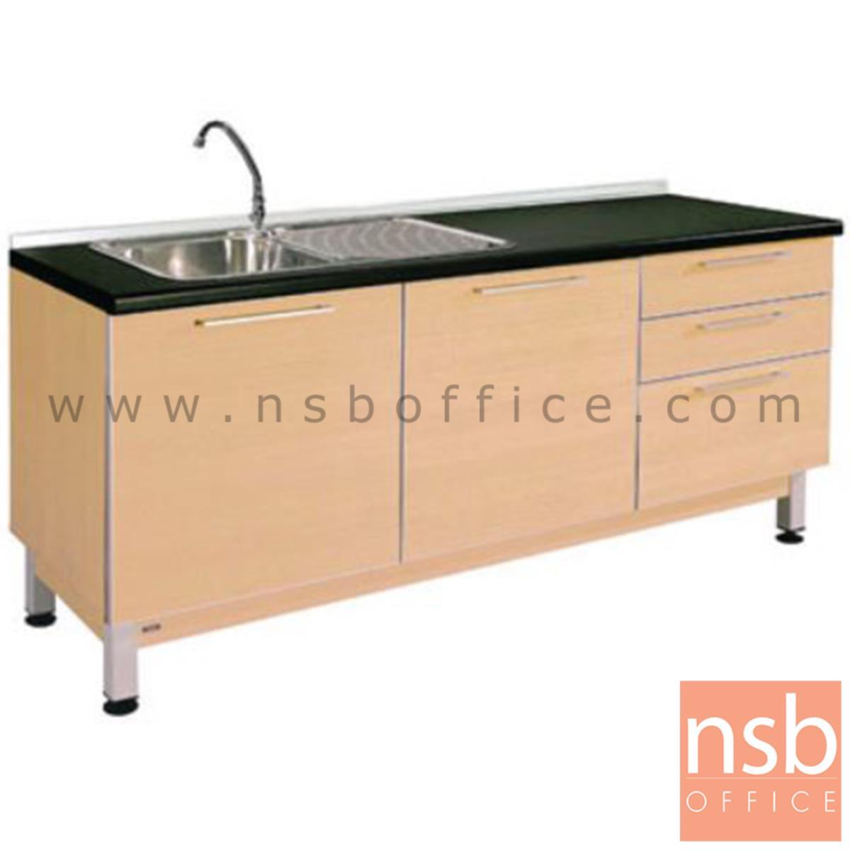 K02A003:ตู้ครัวเคาน์เตอร์สีบีทดำ 180 cm.   พร้อมซิงค์ล้างจาน (สำหรับครัวเปียกและครัวแห้ง)