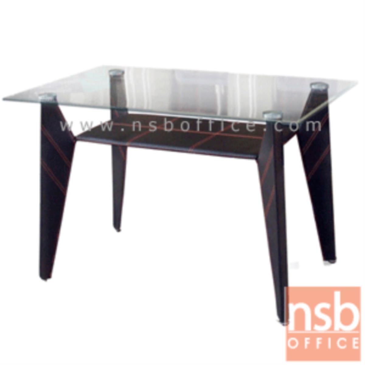 A05A114:โต๊ะประชุมเหลี่ยมหน้ากระจก รุ่น Remigio (เรมีโจ) ขนาด 120W cm.  ขาเหล็กหุ้มหนัง