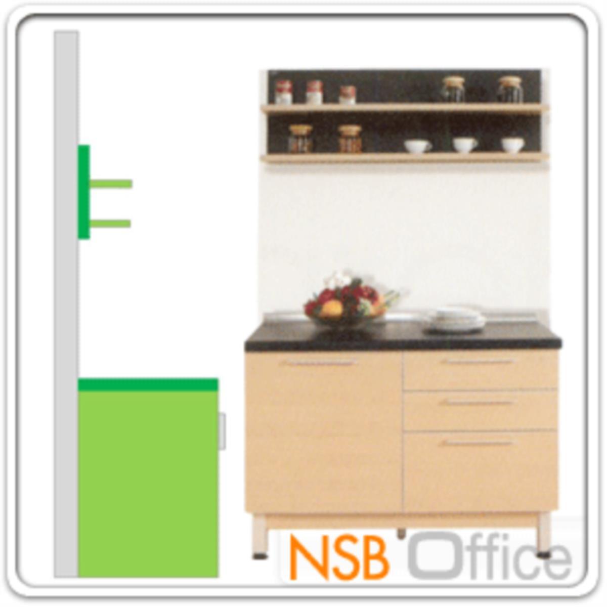 ชุดตู้ครัวสีบีทดำ 120W cm. รุ่น Step 02 (สำหรับครัวเปียกและครัวแห้ง)