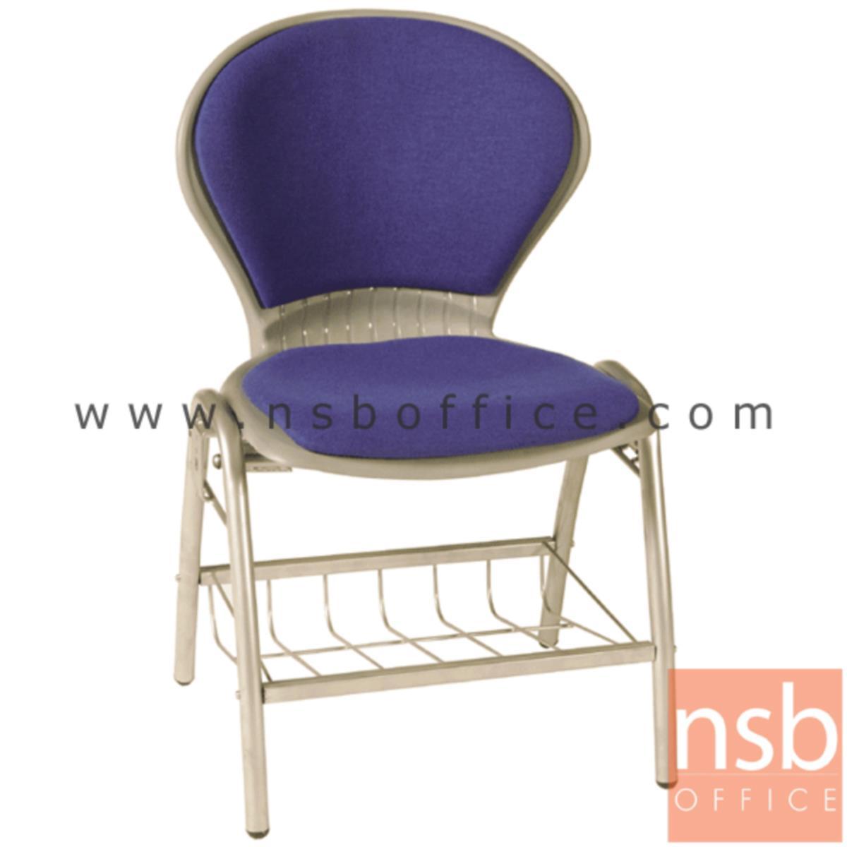 B05A048:เก้าอี้อเนกประสงค์เฟรมโพลี่ รุ่น A366  มีตะแกรงวางของ ขาเหล็ก