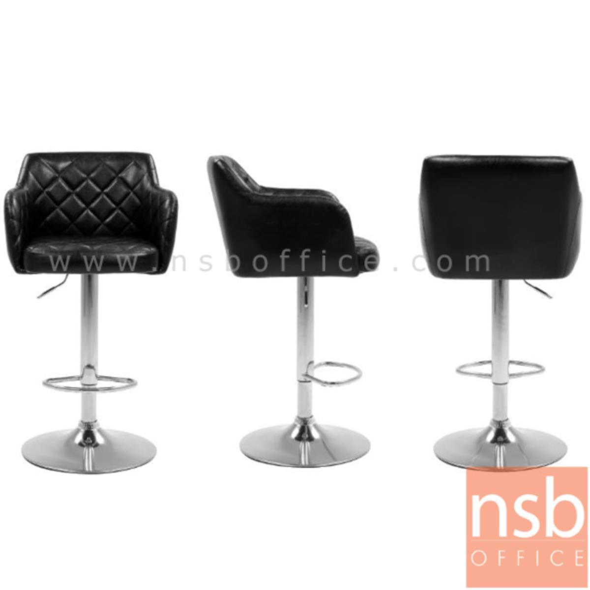 เก้าอี้บาร์สูงหนัง PU BY-CAST รุ่น BHS-5771 ขนาด 56W cm. โช๊คแก๊ส ขาโครเมี่ยมฐานจานกลม