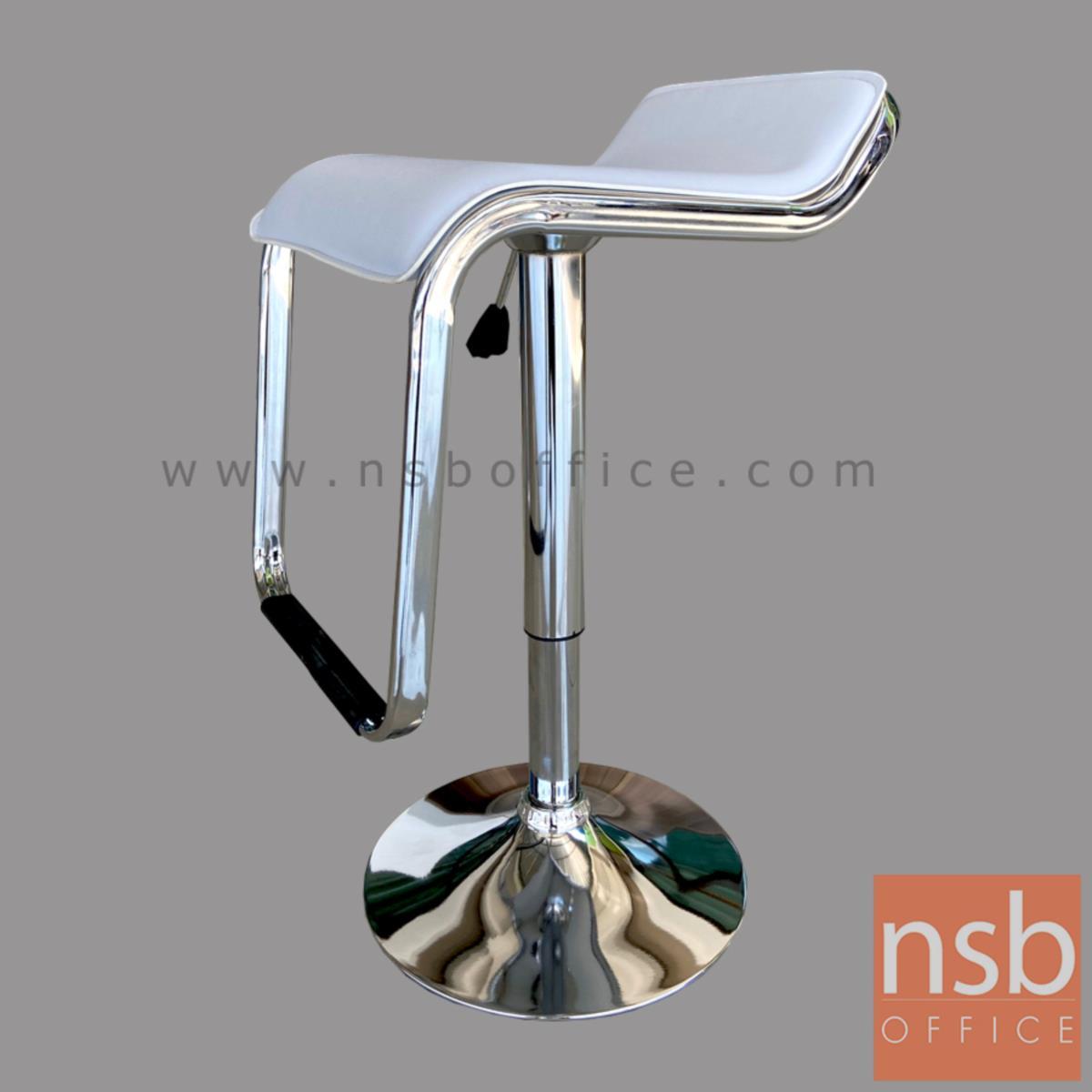 เก้าอี้บาร์สูงหนังเทียม รุ่น Vartan (วาร์แทน) ขนาด 47W cm. โช๊คแก๊ส ขาโครเมี่ยมฐานจานกลม