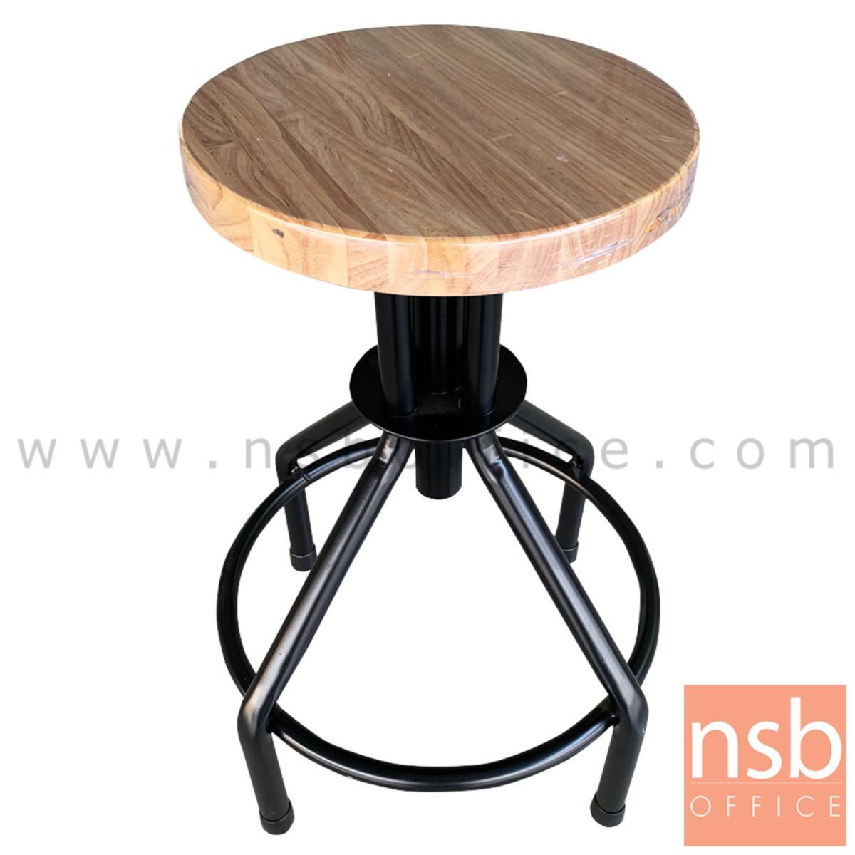 B09A124:เก้าอี้บาร์สตูลหน้าไม้ที่นั่งกลม รุ่น TDT-061  ขาเหล็กพ่นดำ