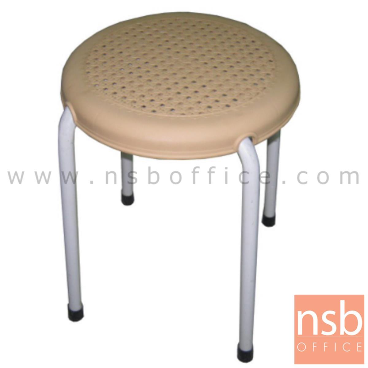 B09A093:เก้าอี้สตูลกลมที่นั่งพลาสติกลายหวาย  31Di*45H cm. ขาเหล็กกลมพ่นเทา