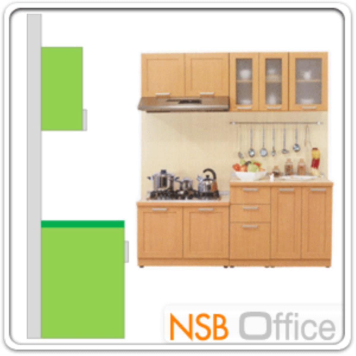 ชุดตู้ครัวหน้าเรียบ 190W cm. รุ่น STEP-005  พร้อมตู้แขวนลอย