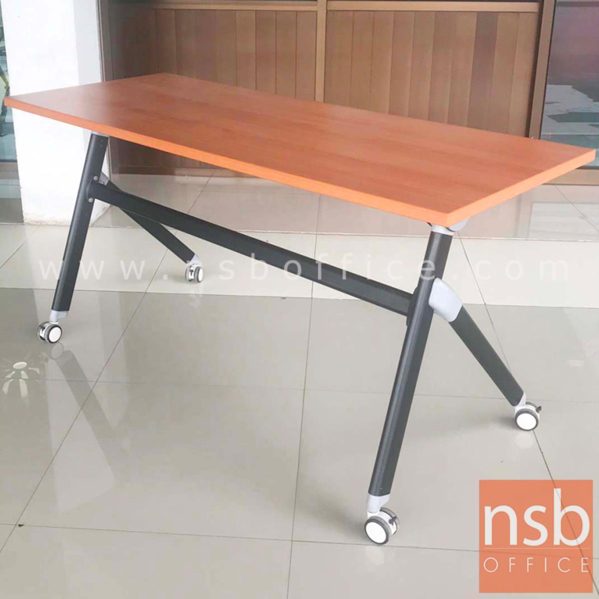 โต๊ะพับล้อเลื่อน รุ่น Marcelline (มาเซลีน)  ขนาด 150W cm. โครงขาเหล็ก ลูกล้อใหญ่