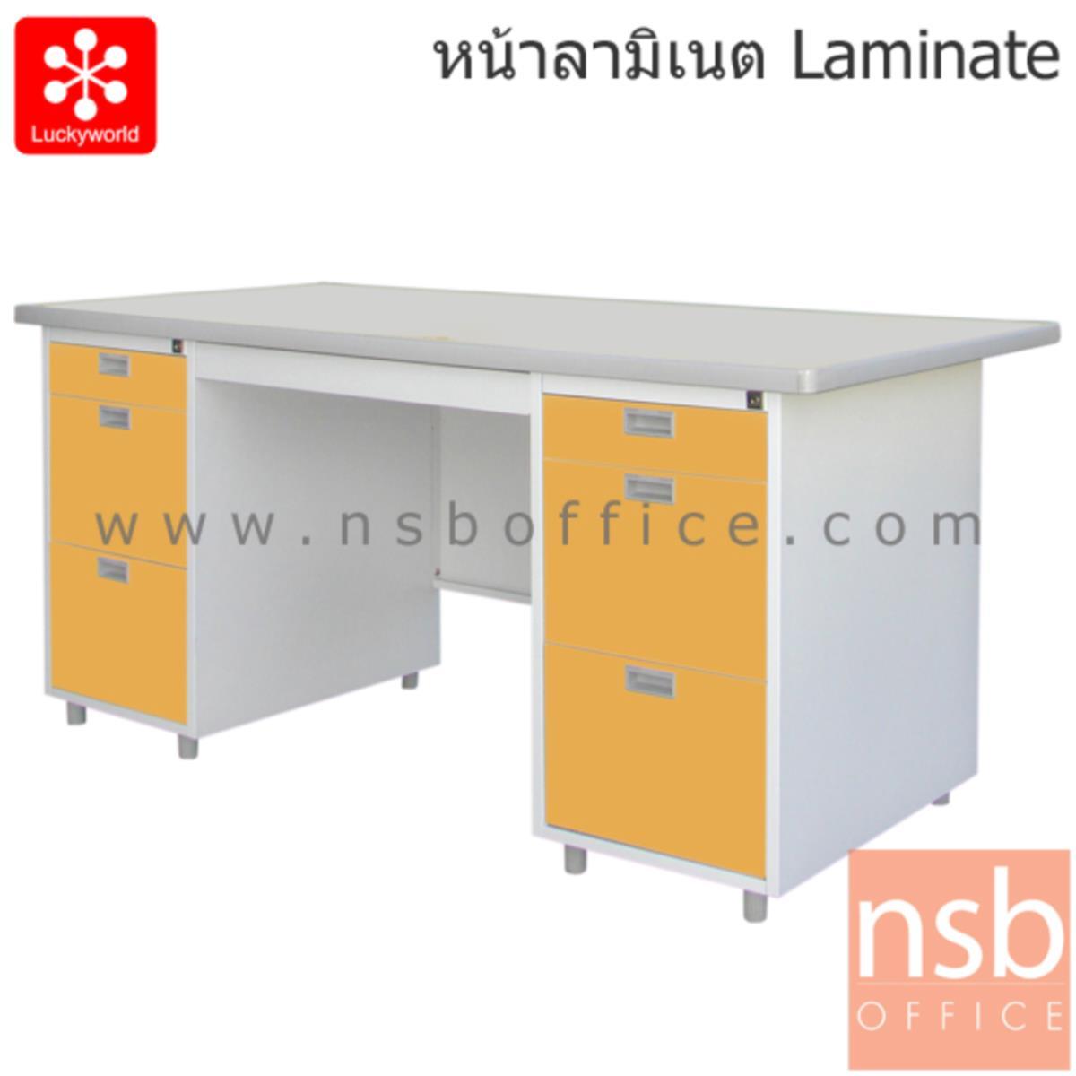 E31A002:โต๊ะทำงานเหล็ก 7 ลิ้นชัก รุ่น DL-52-33 159.5W cm. หน้าลามิเนท