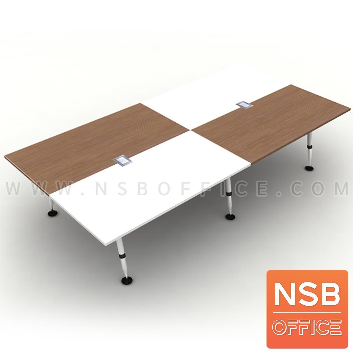 A22A007:โต๊ะประชุมทรงสี่เหลี่ยม 12 ที่นั่ง  รุ่น Panax (พาแน็กซ์) ขนาด 320W cm. พร้อมฝาเปิดปิดปลั๊กไฟบนโต๊ะ ขาเหล็ก