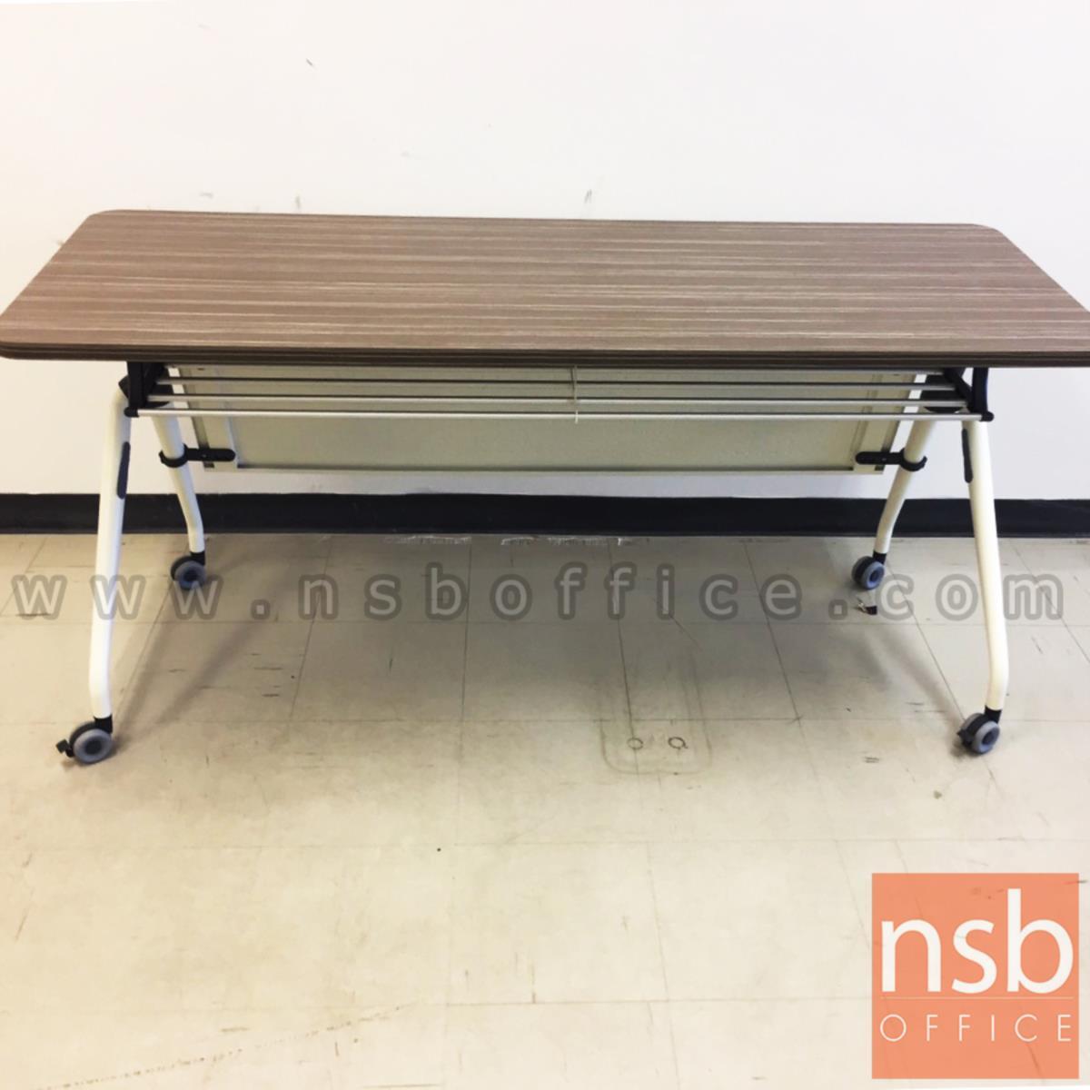 โต๊ะประชุมพับเก็บได้ล้อเลื่อน รุ่น TY-860 ขนาด 160W ,180W*(60D, 80D) cm.  พร้อมบังโป๊และตะแกรงวางของ