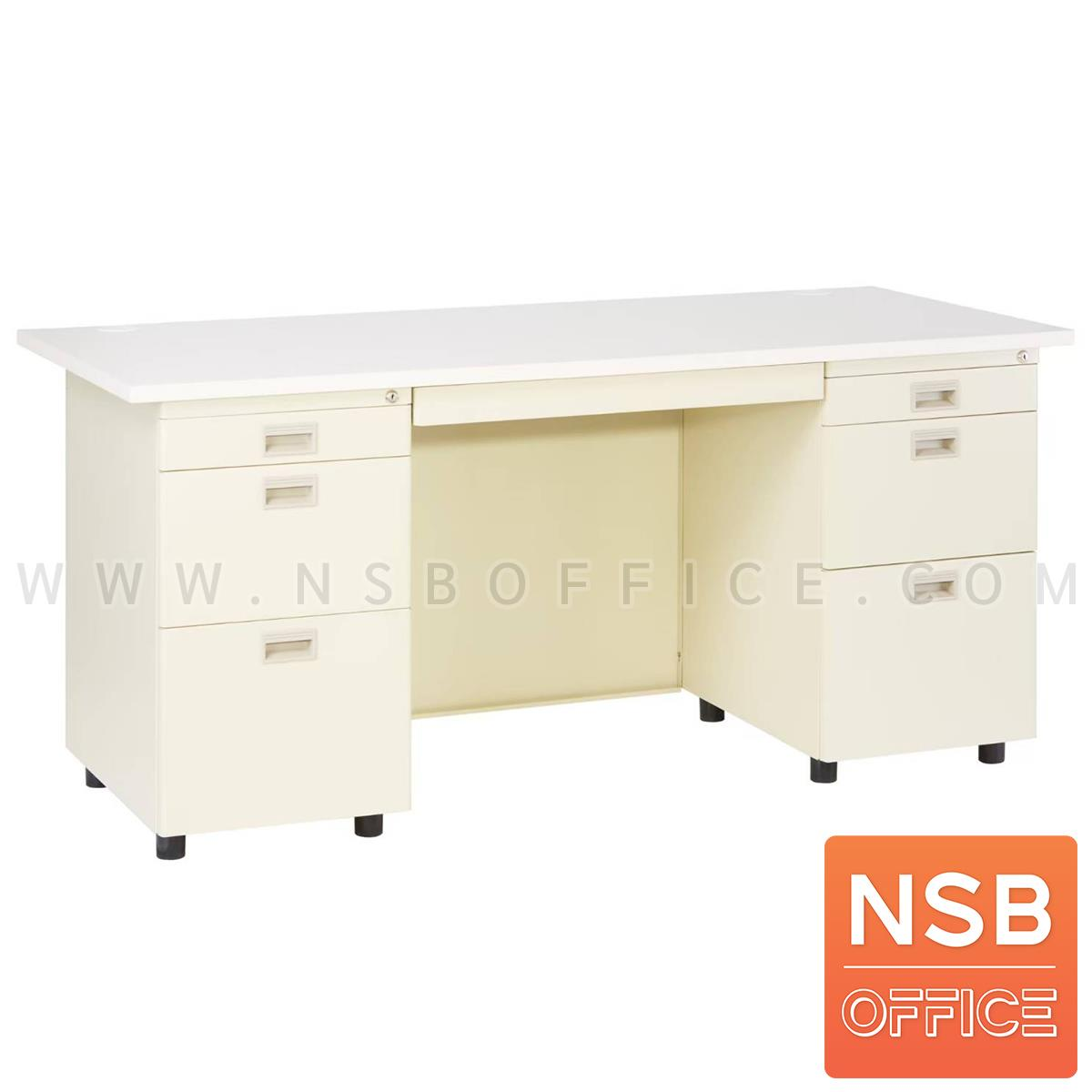 E06A020:โต๊ะทำงานเหล็กหน้าไม้ผิวพีวีซี 7 ลิ้นชัก  รุ่น DNP 167 ขนาด 160W*70D cm. เหล็กหนาพิเศษ 0.6 มม.