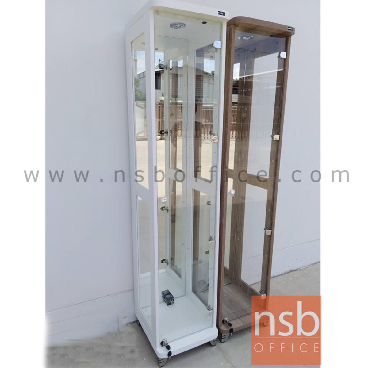 G06A031:ตู้โชว์กระจกดาวน์ไลท์    ขนาด 40W*40D*190H cm. มีไฟในตัว (หลังกระจกเงา)