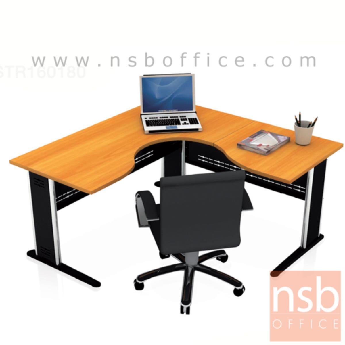 A06A002:โต๊ะผู้บริหารตัวแอลหน้าโค้งเว้า  รุ่น Andorian ขนาด 160W1 ,180W1*180W2 cm.  ขาเหล็ก